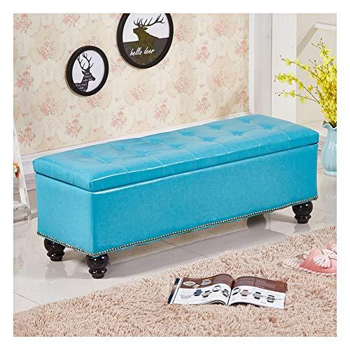 GIAO Taburete de Almacenamiento Baúl Puff Taburete Arcón Asiento Puf Ordenación Caja De Almacenaje Baúl Puff (Color : Aqua Blue, Size : 120x40x40cm)