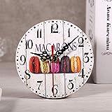 Zyyini Reloj de Pared de Madera, Reloj de Pared Redondo de Madera silencioso Estilo rústico Vintage de 5 Pulgadas, con Pilas, decoración de Pared rústica para la Sala de Estar, Cocina, Dormitorio(6#)