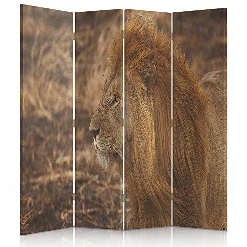 Feeby Frames. Raumteiler, Gedruckten auf Canvas, Leinwand Wandschirme, dekorative Trennwand, Paravent beidseitig, 4 teilig (145x180 cm), LÖWE, Tiere, Afrika, BRAUN