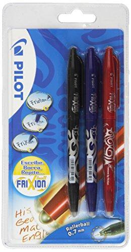Pilot - Set 3 bolígrafos, color negro, azul y rojo, multicolor, medio