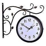 Wyz Reloj de Pared de Doble Cara Interior de época en Soporte Estación de Tren de Hierro Forjado Relojes Redondos Diseños Sencillos Decoración de Sala de Estar (Color : A)