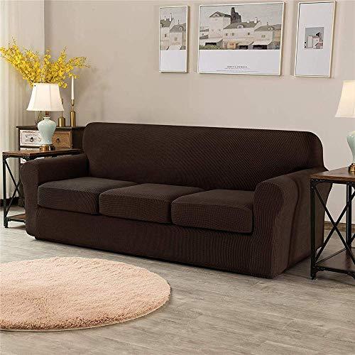 Funda de sofá universal con 2 fundas de cojín independientes, protector de muebles antideslizante de reemplazo de funda de sofá de poliéster elastizado elástico (chocolate, 3 plazas (185-235 cm))