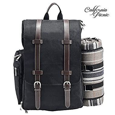 Picnic Backpack   Picnic Basket   Stylish All-in-One Portable Picnic Bag for 2 with Complete Wooden Cutlery Set, Stainless Steel S/P Shakers   Waterproof Fleece Picnic Blanket   Cooler Bag for Camping