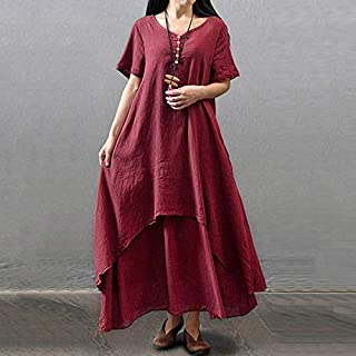 إكساس جديد أزياء المرأة عارضة فضفاض اللباس سادة اللون قصيرة الأكمام بوهو الصيف اللباس الطويل ماكسي اللباس