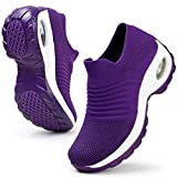 HKR Womens Walking Shoes Lightweight Platform Slip On Sneakers Comfortable Knit Mesh Working Shopping Shoes All Purple 6.5(ZJW1839chunzise37)