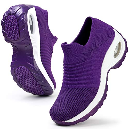 HKR Womens Walking Shoes Lightweight Platform Slip On Sneakers Comfortable Knit Mesh Working Shopping Shoes All Purple 9(ZJW1839chunzise41)