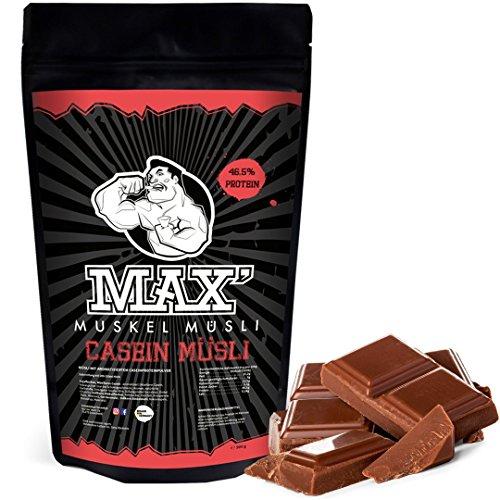 MAX MUSKEL MÜSLI Casein Low Carb Protein-Müsli ohne Zucker-Zusatz & Nüsse - wenig Kohlenhydrate viel Eiweiss Sportlernahrung für Muskelaufbau & Abnehmen und speziell für abends 500g Beutel (Schoko)