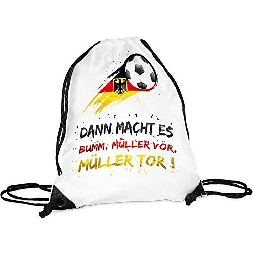Tassendruck WM-Turnbeutel mit Spruch Dann Macht es Bumm Müller vor, Müller Tor!/Rucksack/Hipster/Gym-Bag/Sport-Beutel/Fussball/National-Manschaft/Deutschland/Beste Qualität - 25 Jahre Erfahrung