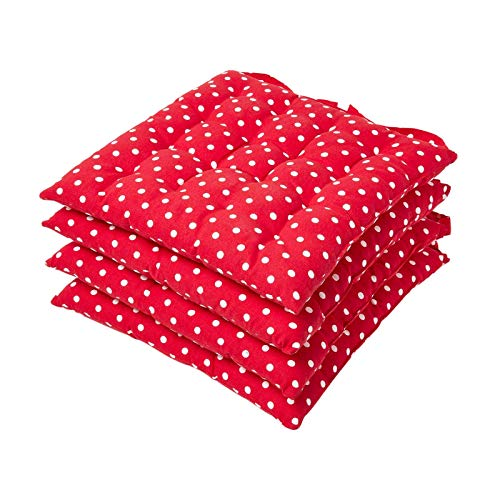 HOMESCAPES Red Polka Dot Seat Pad Cushion for Dining Chairs Set of 4 100% Cotton Chair Pad with Straps 40 x 40 cm