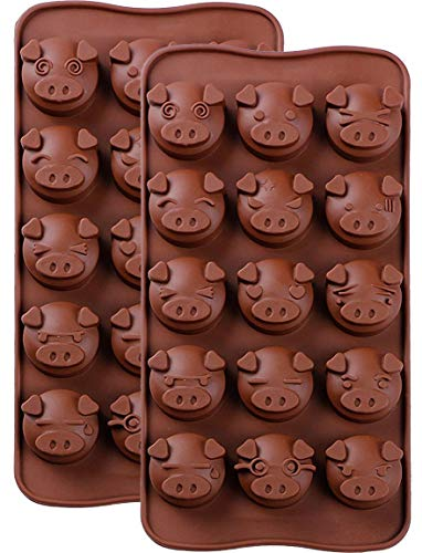 Silicone Chocolate Molds Piggy Pig Face Emoticons Piglet Candy Molds for Jello, Fondant, Hard Candy, Keto Fat Bombs, Resin (2 Pack)