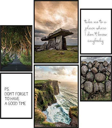 Papierschmiede Premium Poster Set Irland | 6 Bilder als stilvolle Wanddeko | 2X DIN A4 und 4X DIN A5 | Klippen Meer Steine Wald Landschaft - ohne Rahmen