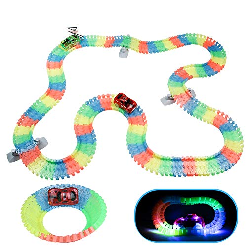 Akokie Circuito Coches Niños Luminoso Pista Coches con 2 LED Coches de...