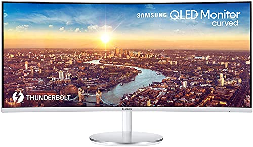 Samsung C34J791 - Monitor Curvo de 34' UltraWide QHD, 2021 Model (3440x1440, 100 Hz, 4 ms, 21:9, 1800R, 300 cd/m², FreeSync, LED, Thunderbolt 3, HDMI) Plata