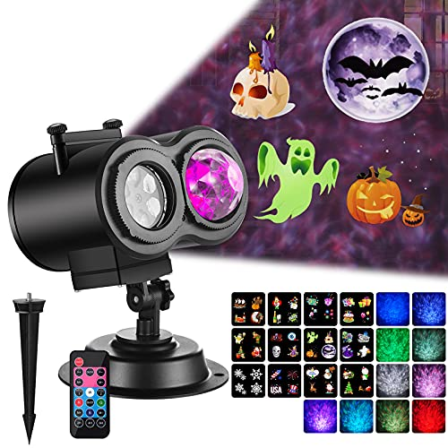 Ocean Wave Projector Christmas Projector Lights 2-in-1 Moving Patterns Landscape Lights Waterproof Outdoor Indoor LED Projection Light for Xmas Halloween Party Garden Decorations 12 Slides 10 Colors