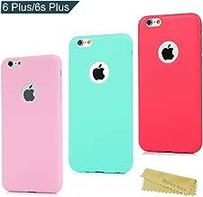3x Funda iPhone 6 Plus/iPhone 6s Plus 5.5 Pulgada, Carcasa Silicona Gel iPhone 6s Plus Mate Case Ultra Delgado TPU Goma Flexible Cover Protectora para Color Rosa+Verde menta+Roja