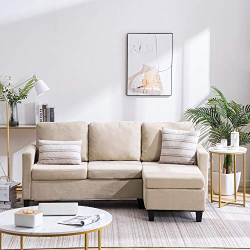 VINGLI Convertible Sectional Sofa Small 3-Seater Sectional Couch L-Shape Upholstered Sectional Sofa Couch with Reversible Chaise for Small Space (Beige)