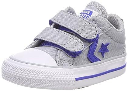 Converse Lifestyle Star Player Ev 2V Ox Canvas, Zapatillas de Estar por casa Niños Bebé Unisex, Gris (Wolf Grey/Hyper Royal/White 097), 21 EU