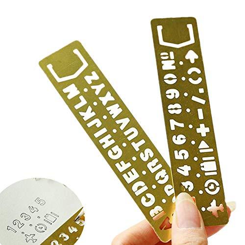 2x Toruiwa segnalibri segnalibri in ottone vintage righello multiuso Hollow Out segnalibri disegno righelli da numeri e lettere e modelli per studenti ufficio cancelleria 13*3cm