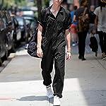 Combinaison pour homme Hip Hop Denim Salopette Mode Slim Fit Jumpsuit avec poches Dickies Combinaison une pièce - Noir - XXXXL-L #2