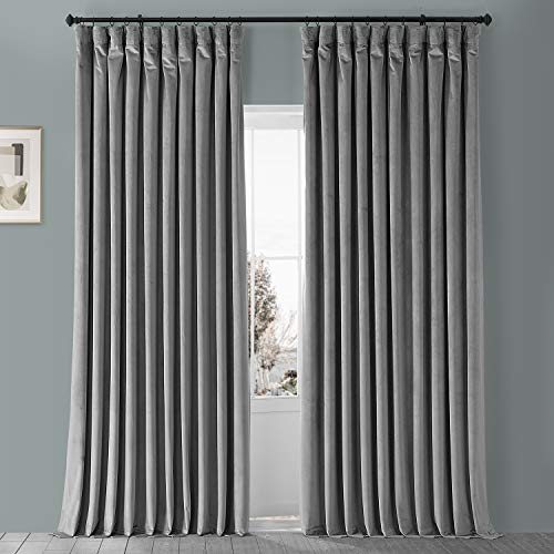 HPD HALF PRICE DRAPES VPYC-161213-108-DW Heritage Plush Velvet Extrawide Curtain (1 Panel), 100 X 84, Avalon Blue
