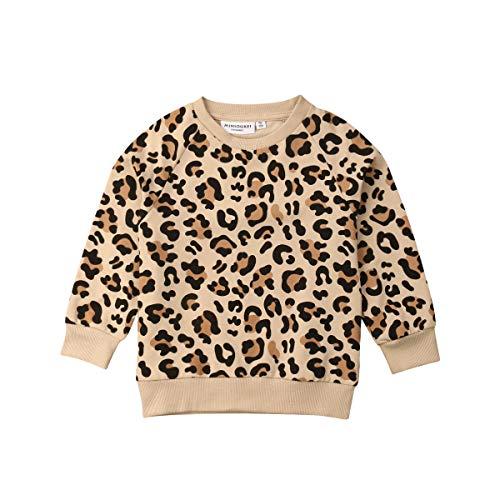 Bebé Niño Bebé Niñas Leopardo Suéter Camisa Manga Larga Cheetah Cardigan Pullover Top Otoño Invierno Ropa - amarillo - 12-24 meses