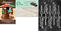 Cybrtrayd 'Sitting Bunny Lolly' Easter Chocolate Candy Mould with 25 11cm Lollipop Sticks and Chocolatier's Guide