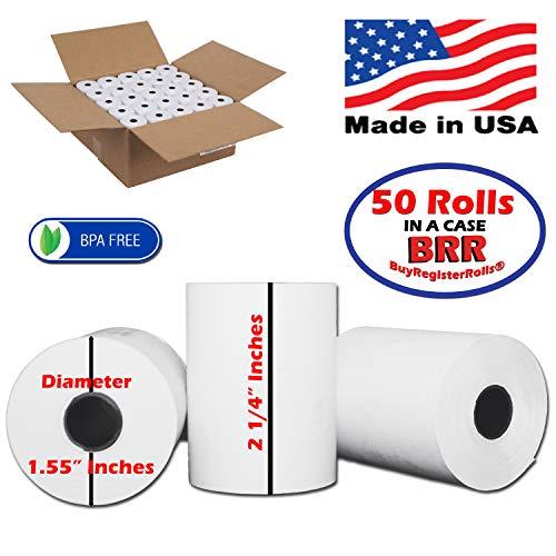 "(Reseller Special) 2 1/4"" x 85' (50 Rolls) Bpa Free thermal paper rolls Blank Tabs FD130 FD50 T4220 Verifone VX510 VX570 VX610 VX810 VX820 Zebra ZQ520/QL420/RW420 Mobile Printer From BuyregisterRolls"