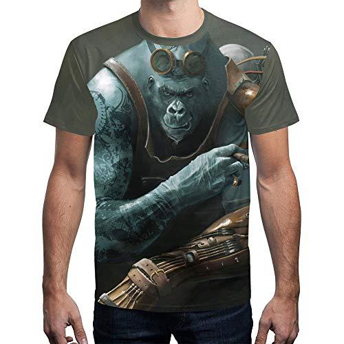 T-Shirt pour Hommes D'Été Drôle 3D Flamme Imprimé Manches Courtes Col Rond Chemises Minces Style Drôle Couple King Kong Animal Féroce Orang-Outan Plage Fête Gym Fitness Sport Pull T-Shirts Haut