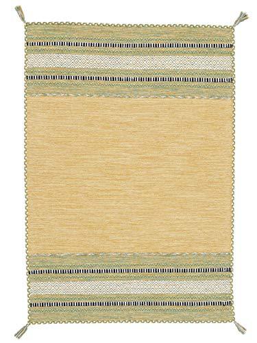 carpetfine Tappeto a Tessitura Kilim Azizi Giallo 40x60 cm   Tappeto Moderno per Soggiorno e Camera da Letto