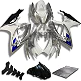 9FastMoto Fairings for suzuki 2006 2007 GSX-R600 GSX-R750 K6 06 07 GSXR 600 750 K6 Motorcycle Fairing Kit ABS Injection Set Sportbike Cowls Panels (White & Silver) S0790