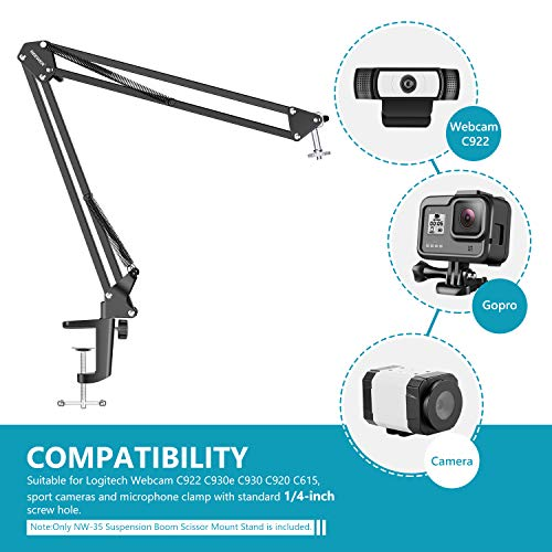 Neewer Einstellbar Desktop Klemme Aussetzung Boom Scissor Arm Ständer Halter für Logitech Webcam C92
