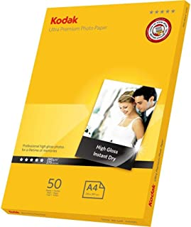 Kodak 280GSM 50 Sheets Ultra Premium 280gsm Glossy A4 Photo Paper, (5740-086)