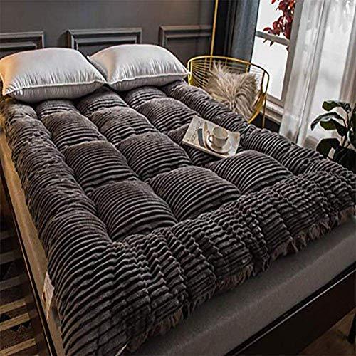 SAZDFY Topper de colchón, colchón de Tatami de Cachemira con Leche colchón de Suelo japonés Plegable colchón de futón Grueso Suave Gris 180x200cm