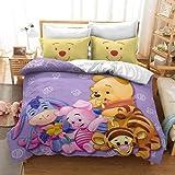 QWAS Pooh - Juego de cama infantil (1 funda nórdica y 2 fundas de almohada) (L1,135 x 200 cm + 50 x 75 cm x 2)