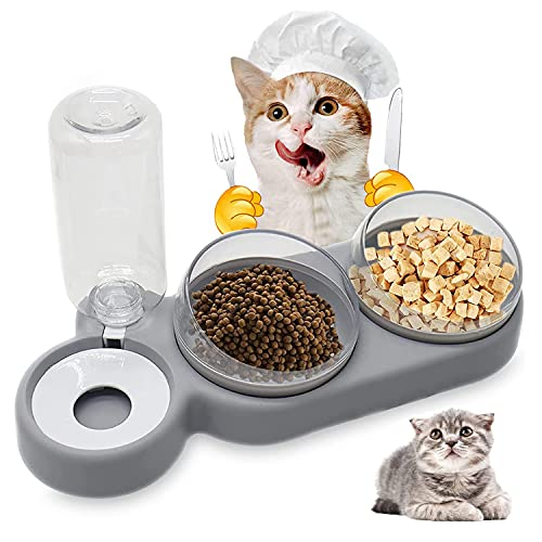 Cuenco del Gato Doble Tazón, 3 en 1 Cuenco del Gato Doble Tazón, 15°Inclinación Tazón de Alimentación para Gatos, Cuenco para Comer con Botella de Agua dispensador de Agua, para Gatos Perros (Gris)