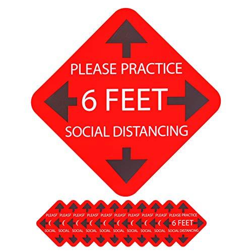 """ITME 10 piezas de Calcomanías de Distanciamiento Social de 11"""", Etiqueta de Distancia, Please Keep Your Social Distance Calcomanías de suelo, Fácil instalación, forma redonda"""