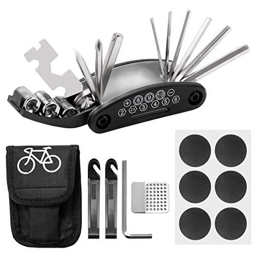 ZITFRI 16-in-1 Kit Bicicletta Riparazione Kit Riparazione Bici Multifunzione Kit Bici di Attrezzi Bici per Riparazione dei Accessori per Bicicletta Kit Riparazione Pneumatici Bici Kit Attrezzi Bici