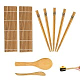 Kit per fare sushi in bambù, 9 pezzi, tappetino per arrotolare il sushi, include 2 tappetini in bambù, 5 paia di bacchette, 1 spatola per riso, 1 spatola per riso