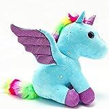 Mislaxy Unicornio de peluche de peluche Dazzle, regalo para niñas a partir de 3 años, azul, 23 cm