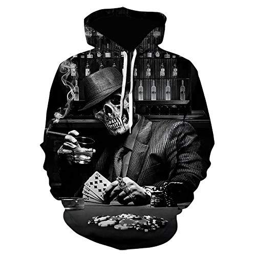Hoodie Capuchahorror Cráneo Impresión 3D Pullover Sudadera con Capucha De Los Hombres Moda para Hombre Ropa Casual Abrigo Tallas We-1539