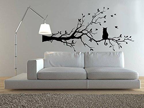 Vinyle décoratif Cat Branch. (environ 120 x 60 cm Réf.) couleur Noir.