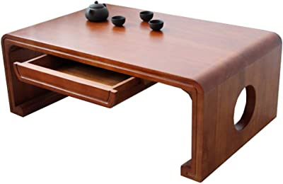 Household Small Table with Drawer Indoor Bedroom Coffee Table Living Room Bay Window Small Coffee Table Family Balcony Tatami (Color : Brown, Size : 80 * 50 * 30cm)