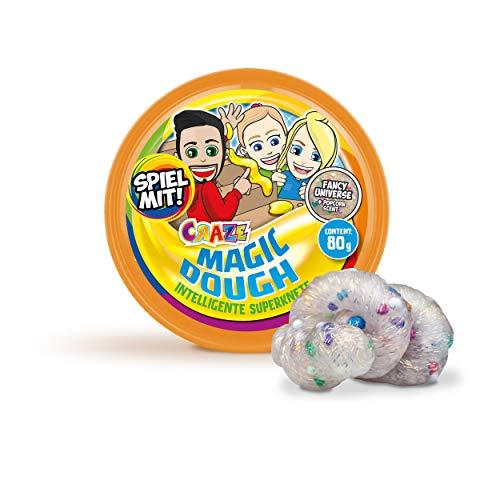 CRAZE MAGIC DOUGH SPIEL MIT MIR Superknete Duftknete Kinder Knete Dose 80g Glitzer Farbwechsel Flüssiges Glas 18613, mehrfarbig