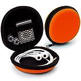 MyGadget Mini Funda Protectora para Auriculares [ In Ear ] - Caja Estuche de Transporte para iPod Shuffle, Airpods, SD Card, Flash Drive USB - Naranja