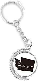 DIYthinker Men's Washington The United States Map Rotatable Key Chain Ring Keyholder 1.2 inch x 3.5 inch Multicolor