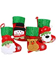 Healifty 4 Piezas de árbol de Navidad Adornos Colgantes decoración Adornos de Fiesta miniaturas calcetín (Oso, muñeco de Nieve, Ciervo, Papá Noel)