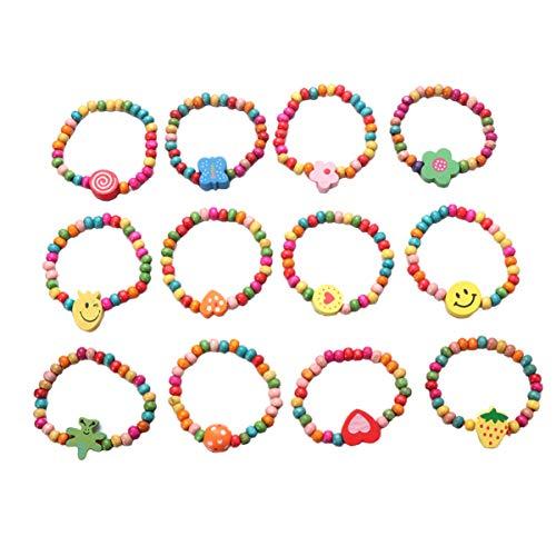 VALICLUD - Braccialetti elastici in legno naturale, per bambini, ideali come regalo per feste, 12 pezzi e legno, colore: come mostrato nell'immagine., cod. G19C3L7C49FDI00GXQJW