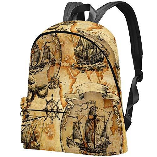 Vintage Segelboote Piraten Segelschiff Bag Teens Student Bookbag Leichte Umhängetaschen Reiserucksack Tägliche Rucksäcke