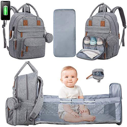 LOVEVOOK Wickeltasche Rucksack Multifunktional Wickelrucksack Babytaschen Große Kapazität Wickeltaschen mit Bett, Wickelauflage, Schnullerhalter & Kinderwagengurte für Mama und Papa (Grau)