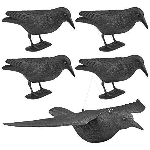 WELLGRO 5 x Vogelschreck - 4 x Krähe sitzend & 1 x Krähe fliegend - Kunststoff, schwarz